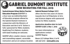 GABRIEL DUMONT INSTITUTE NOW RECRUITING FOR FALL 2019