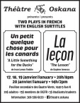 Theatre Oskana presents TWO PLAYS IN FRENCH WITH ENGLISH SURTITLES